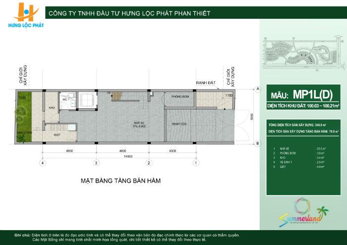 thiết kế tầng hầm nhà phố dự án summerland