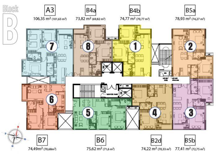 mặt bằng tháp B căn hộ chung cư hưng phát 2 silver star